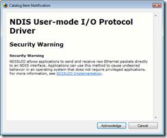 Catalog item notification security warning