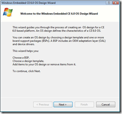Windows Embedded CE 6.0 OS Design Wizard
